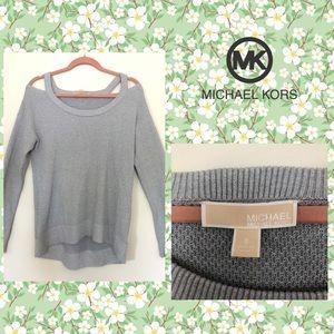 MICHAEL KORS silver metallic cold shoulder